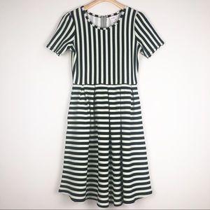 Lularoe Amelia Dress Black White Stripes Medium